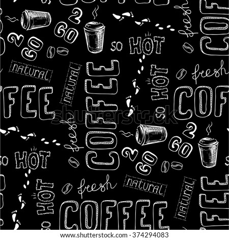 seamless doodle coffee pattern on black background ,hand drawn vector illustration - stock vector
