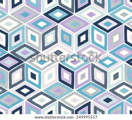 seamless doodle dots geometric square pattern - stock vector