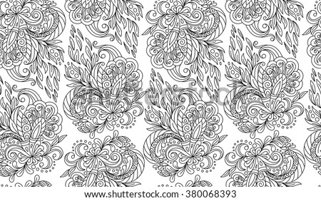 Seamless doodle flower background in vector with doodles, flowers. Circles ethnic floral pattern. Good for coloring book for adult and older children. Coloring page.  - stock vector