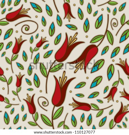 Seamless Doodle Lily Pattern - stock vector
