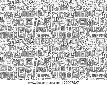 seamless doodle media pattern - stock vector