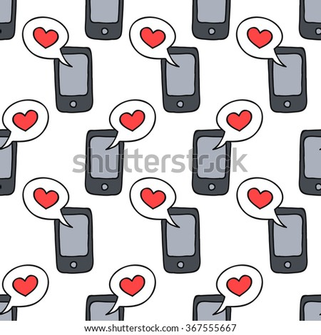 seamless doodle pattern. cellphone with love message. vector illustration - stock vector