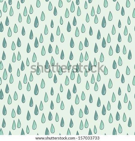 Seamless doodle pattern of raindrops - stock vector
