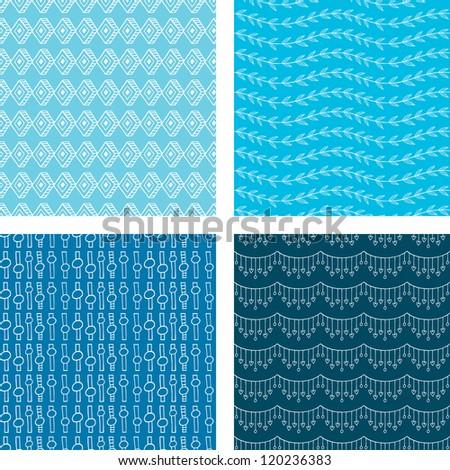 Seamless Doodle Pattern Set Blue - stock vector