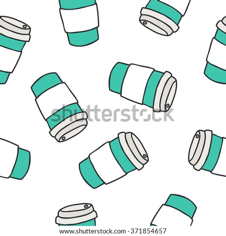 seamless doodle pattern. take away coffee cup. vector illustration - stock vector