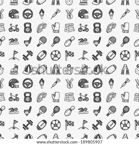 seamless doodle sport pattern - stock vector