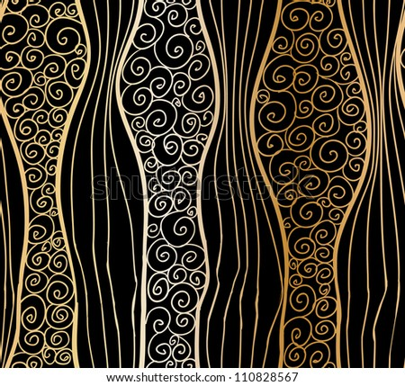Seamless doodle stripes and swirls background. - stock vector