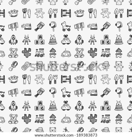 seamless doodle toy pattern - stock vector