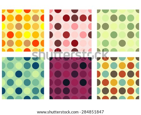 Seamless Dots Background Set - stock vector