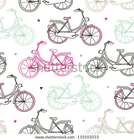 Seamless drawing dutch bicycle background pattern in vector - stock vector