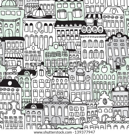 Seamless dutch architecture amsterdam streets illustration background pattern in vector - stock vector