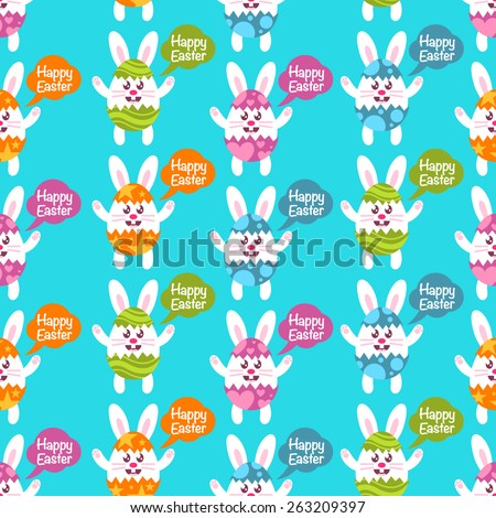 Seamless Easter pattern with colorful bunnies in broken Easter eggs - stock vector