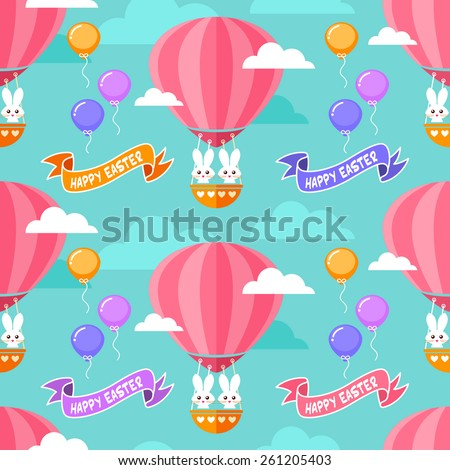 Seamless Eastern background with cute bunnies in hot air balloon - stock vector