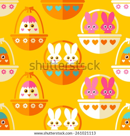 Seamless Eastern pattern with cute bunnies and chicks in basket - stock vector