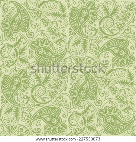 Seamless (easy to repeat) paisley pattern background (swatch, wallpaper, tile, print, texture), tan and green  - stock vector