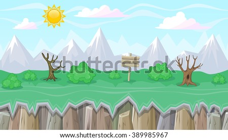 Seamless editable mountainous horizontal background with bushes and dead trees for video game - stock vector