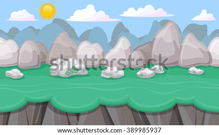 Seamless editable mountainous horizontal background with round stones and cliffs for video game - stock vector