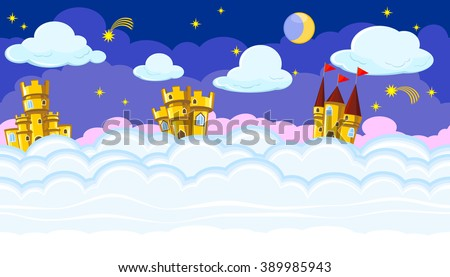 Seamless editable night cloudscape with golden castles for game design - stock vector