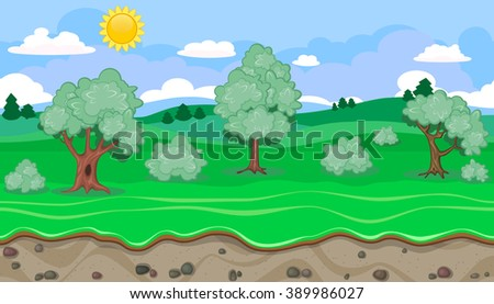 Seamless editable rural horizontal background with trees for video game - stock vector