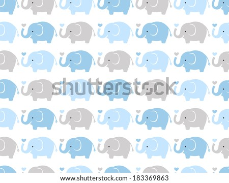 seamless elephant animal cartoon - stock vector