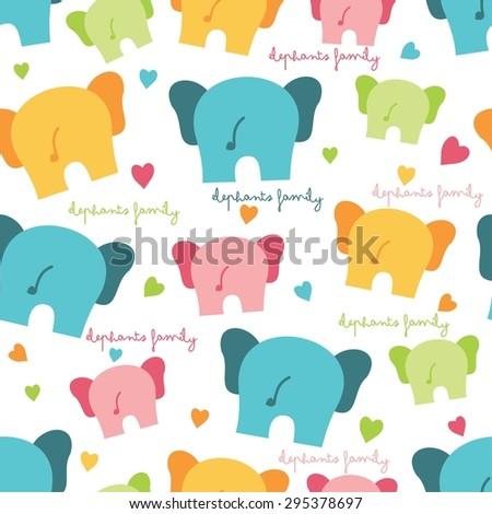 seamless elephant cartoon pattern - stock vector