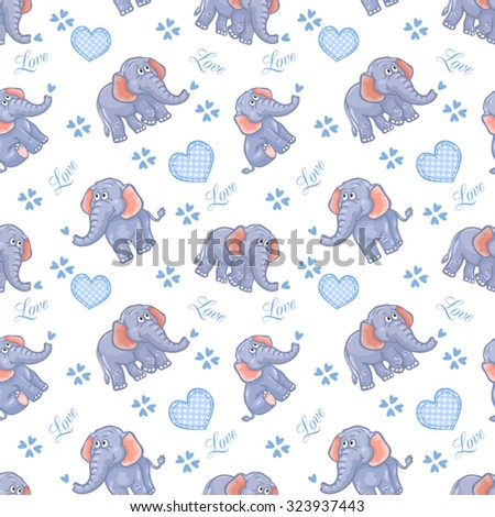 Seamless elephant kids pattern - stock vector