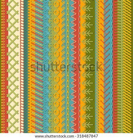 Seamless embroidery pattern. Vector high detailed stitches on textile background. Boundless background. - stock vector