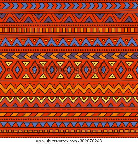 Seamless ethnic background. Geometric elements. Yellow, blue, orange. Bright pattern. Handmade. Vector illustration. - stock vector
