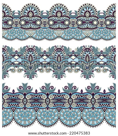 seamless ethnic floral paisley stripe pattern, border set, ukrainian tribal ornament for print or embroidery ribbon, or for the design of polygraphy or web - stock vector