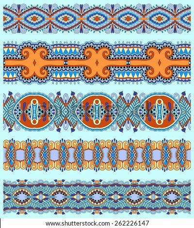 seamless ethnic floral paisley stripe pattern, border set, ukrainian tribal ornament for print or embroidery ribbon, or for the design of polygraphy in blue color - stock vector