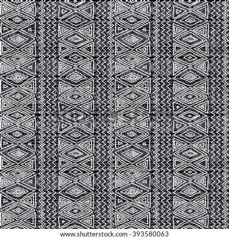 Seamless ethnic geometric pattern. Black and white graphics, diamonds, triangles and zigzags, folk motives, hand drawn background. - stock vector