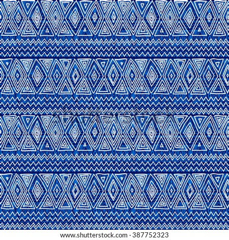 Seamless ethnic geometric pattern. Blue and white graphics, diamonds, triangles and zigzags, folk motives, hand drawn background. - stock vector