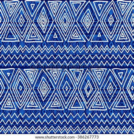 Seamless ethnic geometric pattern. Blue and white graphics, diamonds, triangles and zigzags on a white background, folk motives. - stock vector