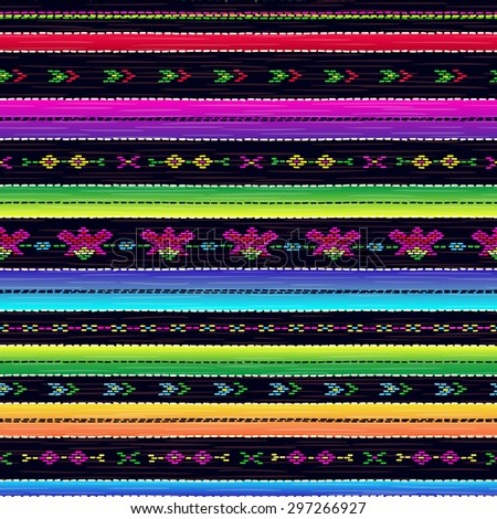Seamless ethnic mexican fabric pattern with colorful stripes. Repeat straight blue, black, red, green, yellow, violet stripes texture background, vector. - stock vector