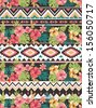 seamless ethnic mix  tropical flower seamless vector pattern background - stock vector