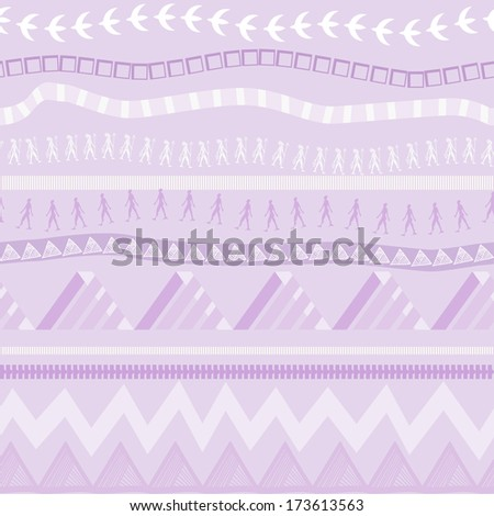 Seamless ethnic pattern in lilac tones - stock vector