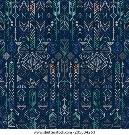 seamless ethnic pattern with native American motifs, vector - stock vector