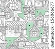 Seamless european victorian architecture scandinavian village illustration background pattern in vector - stock vector