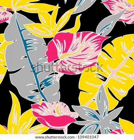 Seamless exotic flower pattern in vector - stock vector
