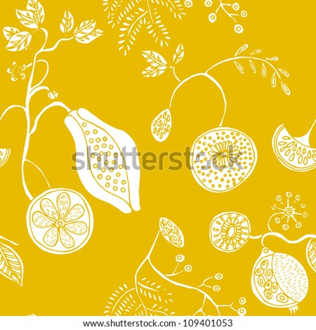 Seamless exotic fruit pattern in vector - stock vector