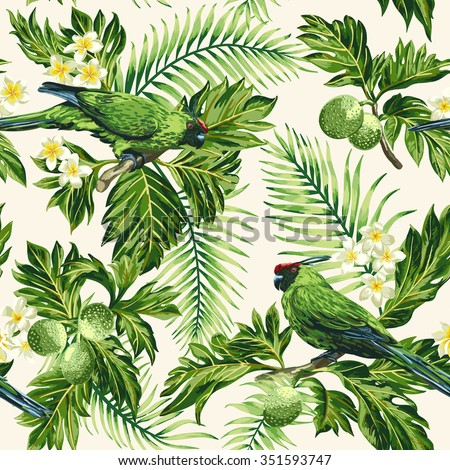 Seamless exotic tropical pattern with leaves, fruits, flowers and birds. Breadfruit, palm, plumeria, parrots. Vector illustration. - stock vector