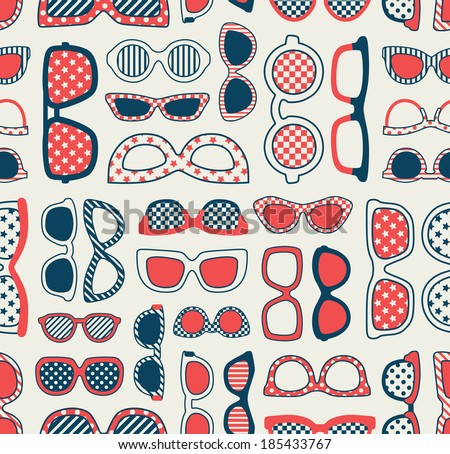 seamless fashion eyeglasses background, - stock vector