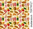seamless fast food pattern - stock vector