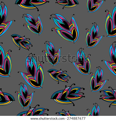 Seamless Feather Pattern Colorful from Wonderland on Grey Background. Vector Illustration. - stock vector