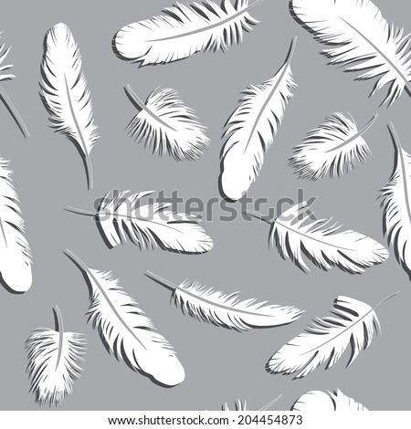 Seamless Feather Pattern vector illustration background sketch. - stock vector