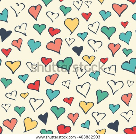 Seamless Festive Love Abstract Pattern with Hand Drawn Hearts on White Background - stock vector