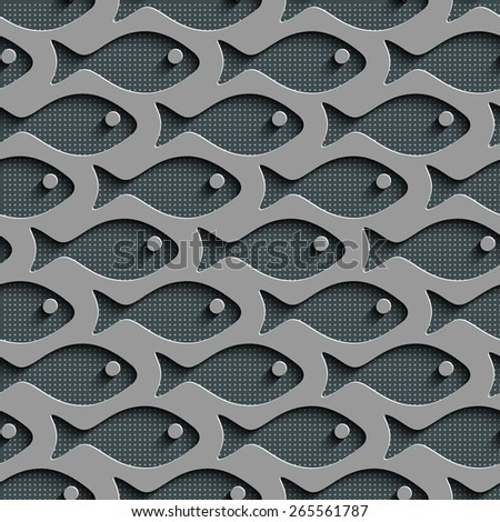 Seamless Fish Pattern. Abstract Gray Background. Vector Regular Texture - stock vector