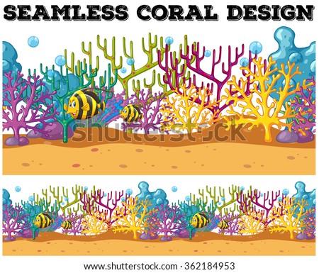 Seamless fish swimming under the ocean illustration - stock vector