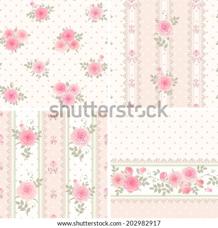 Seamless floral background and borders. Set of shabby chic style patterns with roses. - stock vector