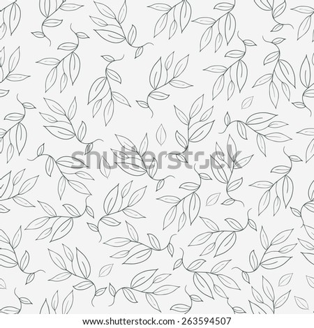 Seamless floral background. Leaves on a branches. - stock vector